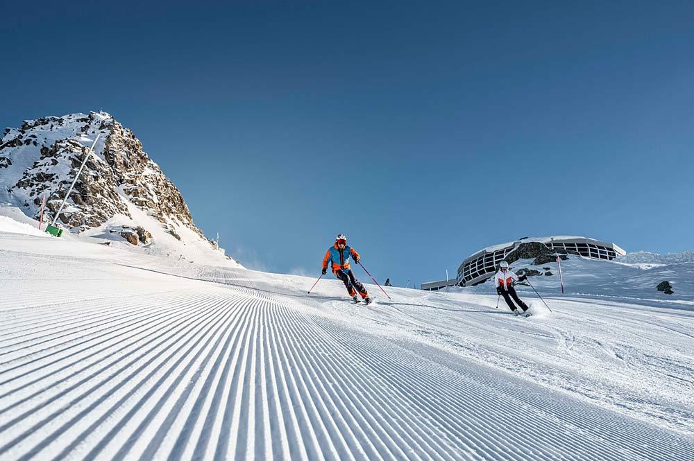 Skifahrer in der Aletsch Arena