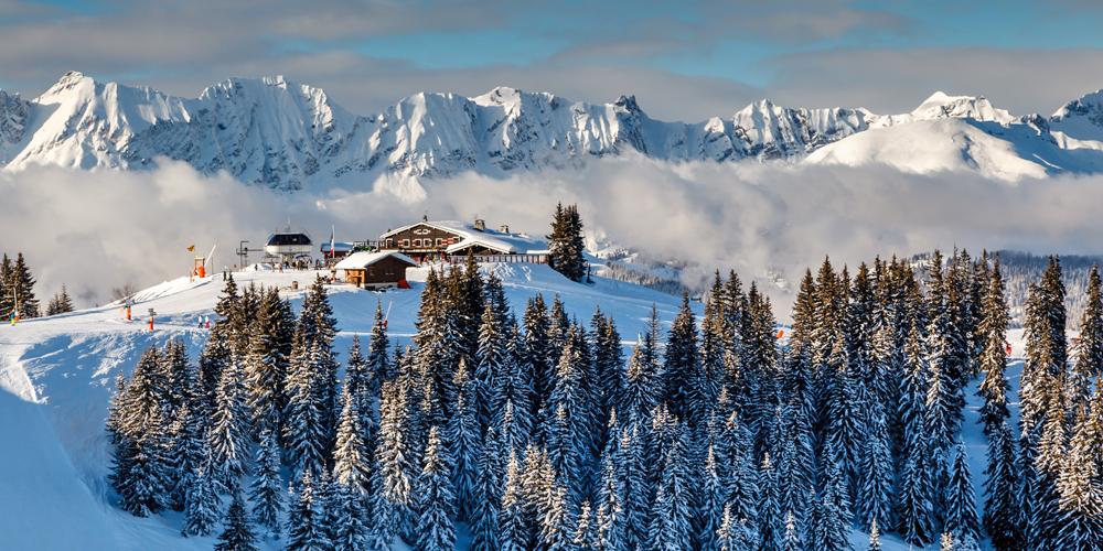 Blick ins Skigebiet Megève