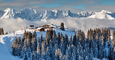 Blick auf das Skigebiet Megève