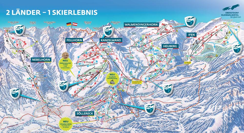 Übersichtskarte der Adler7 in Oberstdorf-Kleinwalsertal