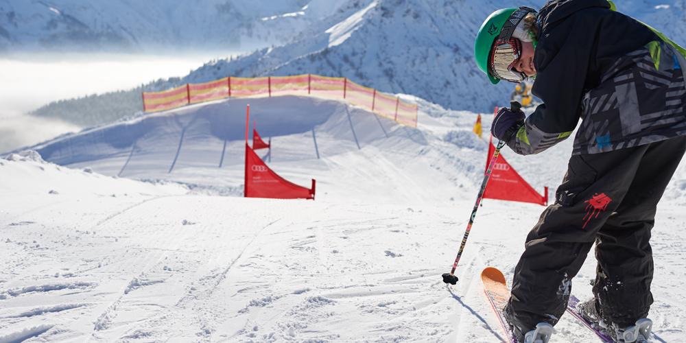 Skifahrer in der Funslope am Fellhorn