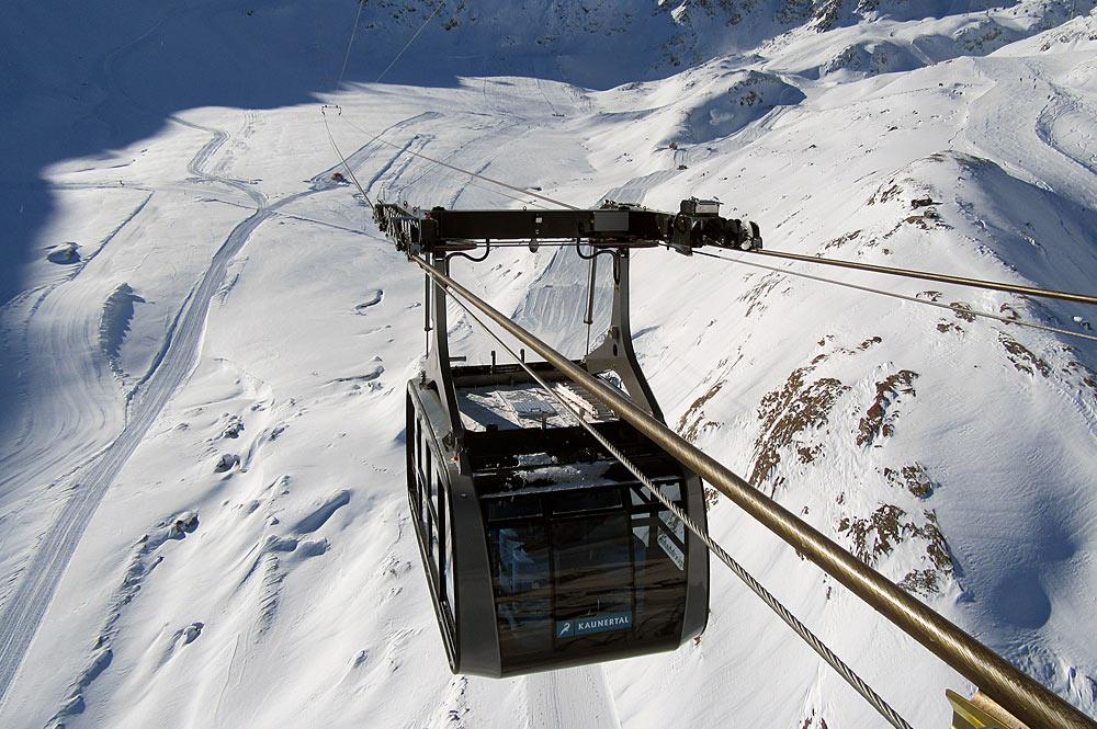 Gondel der neuen Falginjochbahn am Kaunertaler Gletscher