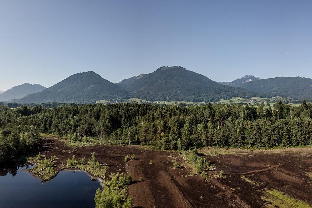 Moorlandschaft rund um Bad Aibling mit den Bergen im Hintergrund