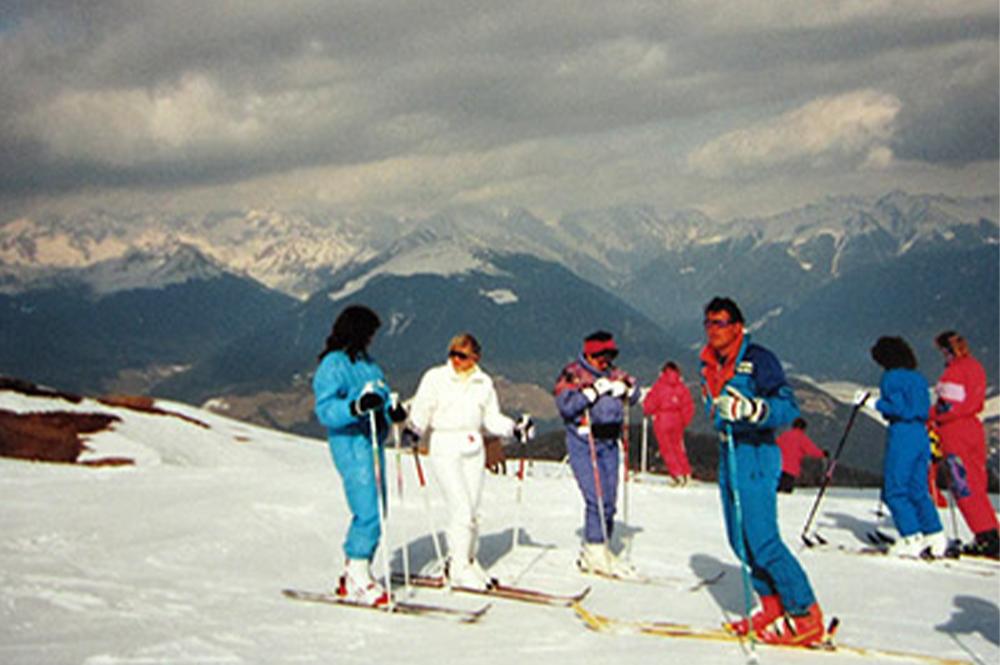Skifahrer auf dem Kronplatz 1999