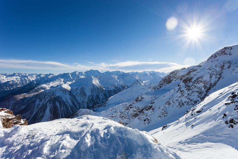 Blick auf das Skigebiet Peio