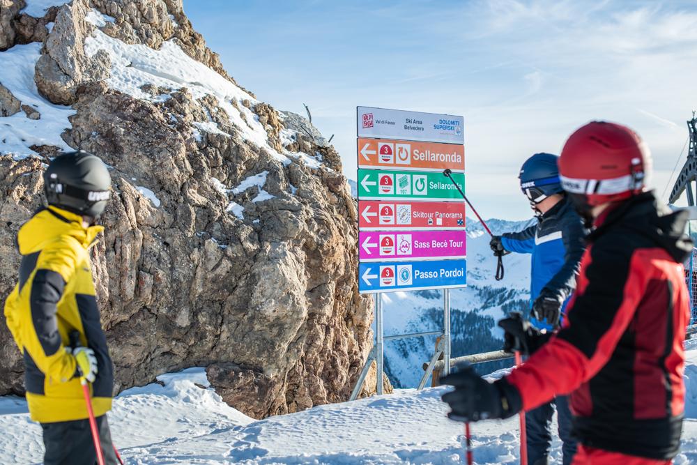 Pistenbeschilderung in Dolomiti Superski