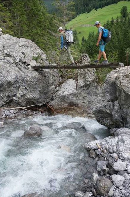 Zwei Wanderer überqueren eine Brücke an der Lech