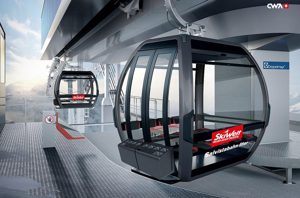 Gondeln der neuen Salvistabahn Itter