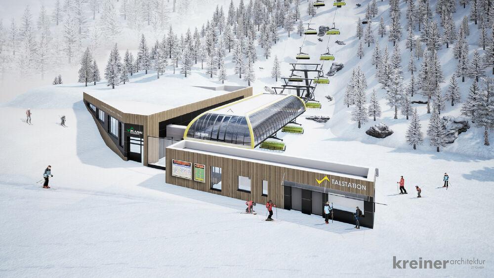Rendering der neuen Lärchkogelbahn Talstation