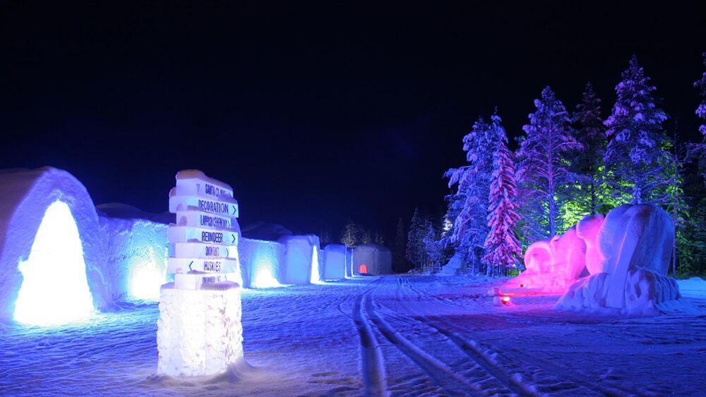 Blick auf das Lapland Hotel SnowVillage