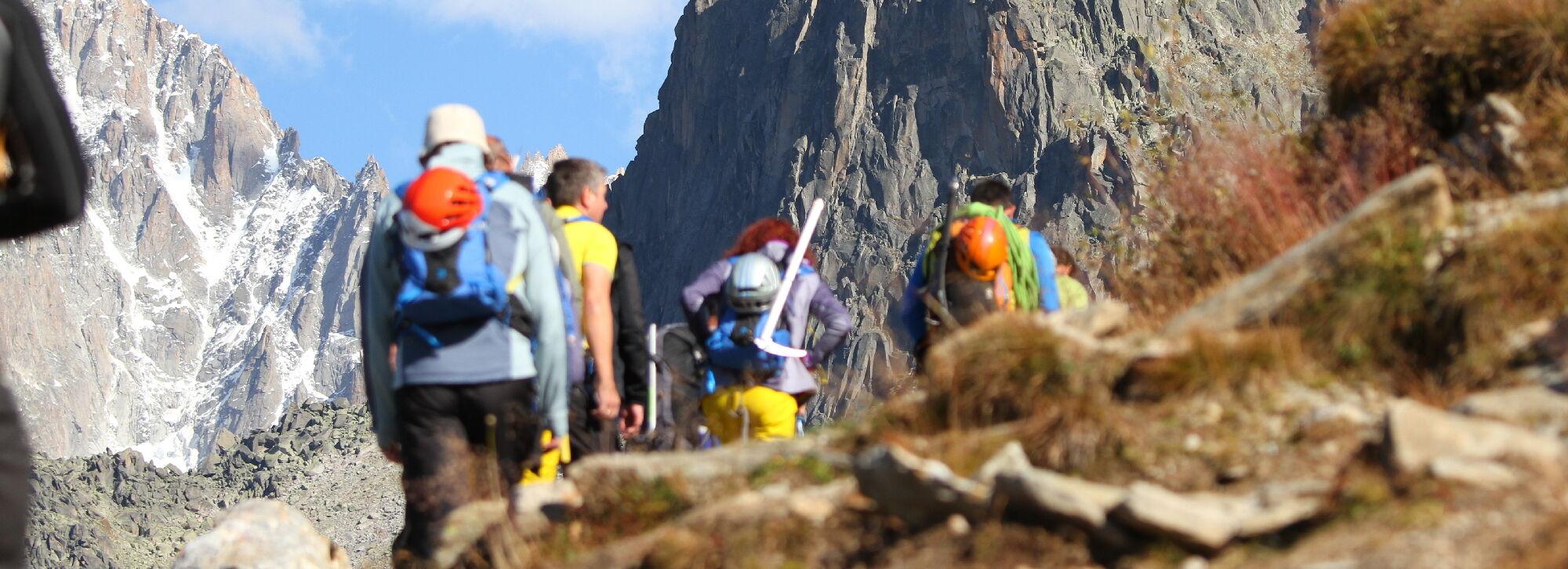 Bergwanderer Gruppe in Chamonix