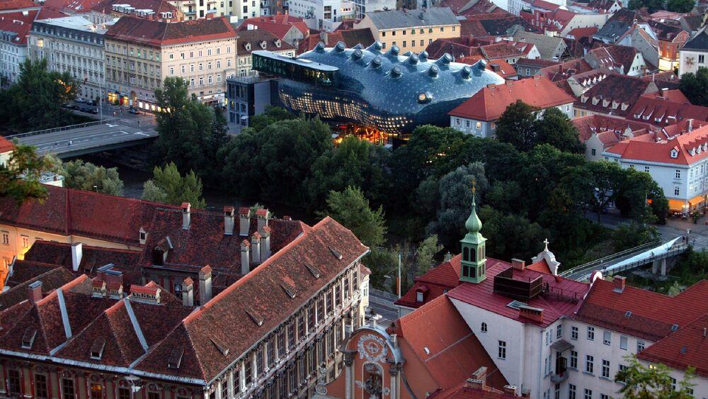 Blick auf das Kunsthaus Graz