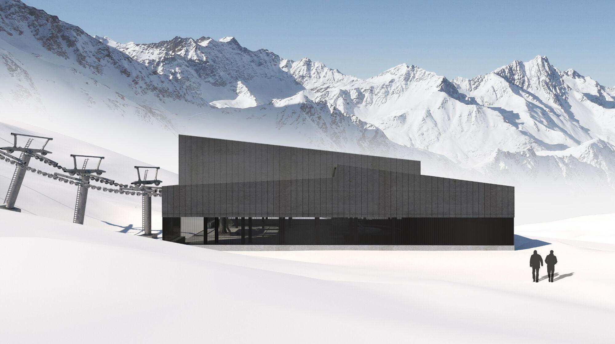 So soll die neue Talstation der Weißseejochbahn aussehen