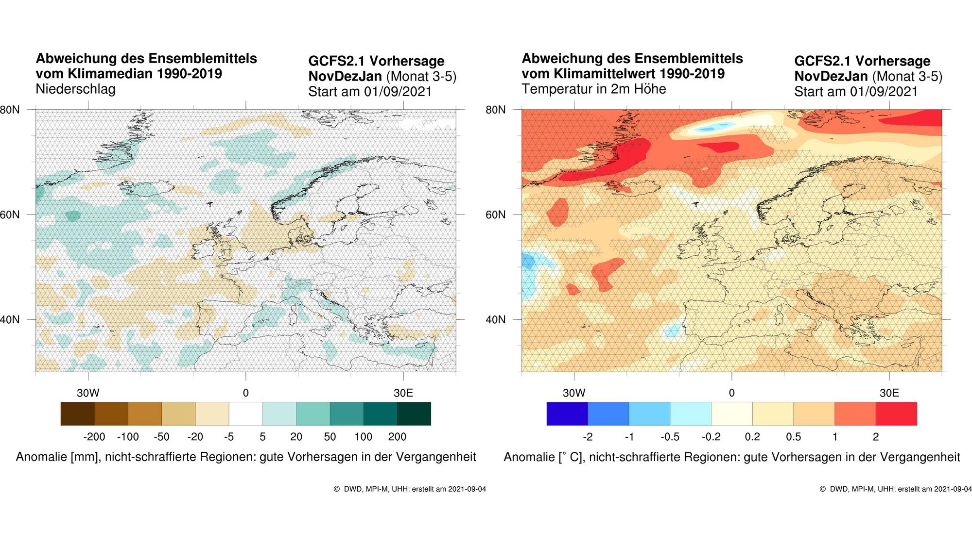 Niederschlags- und Temperaturabweichungen vom langjährigen Mittel der Monate Nov/Dez/Jan 21/22