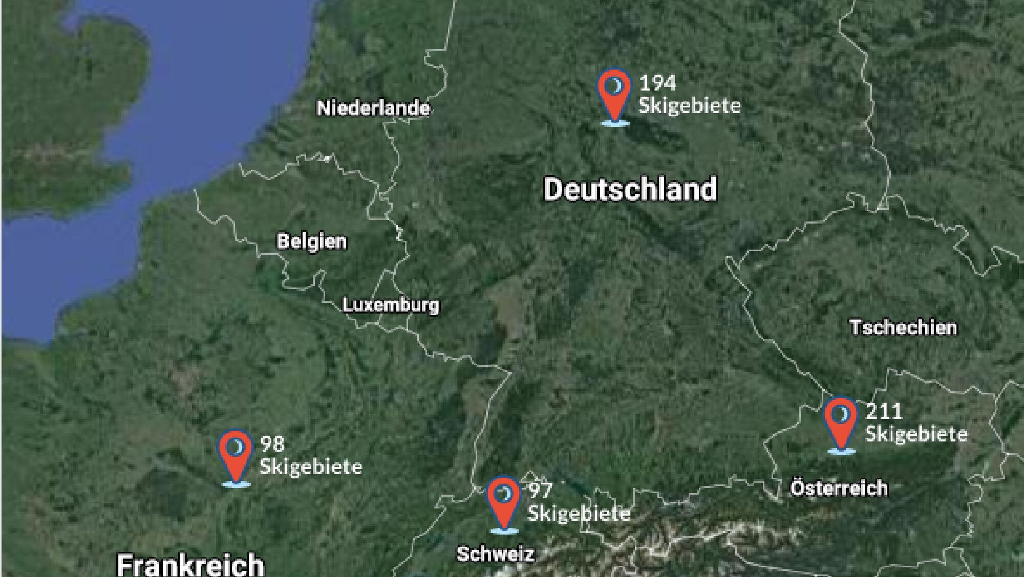 Eine große Auswahl: Über 300 Skigebiete stehen Wintersportlern in Deutschland, Frankreich, Österreic