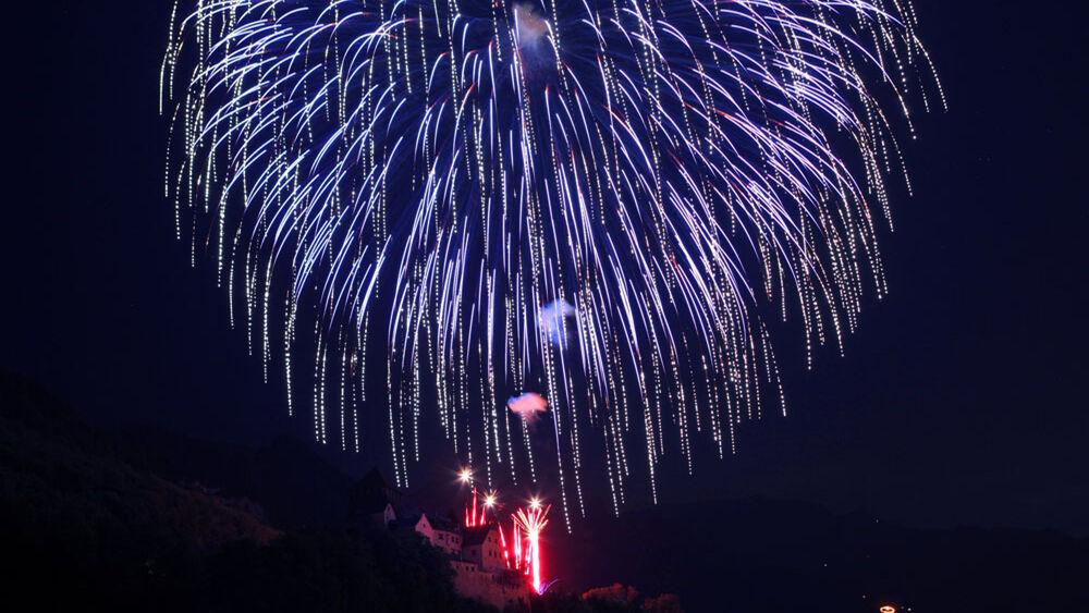 Feuerwerk beim Liechtensteiner Staatsfeiertag