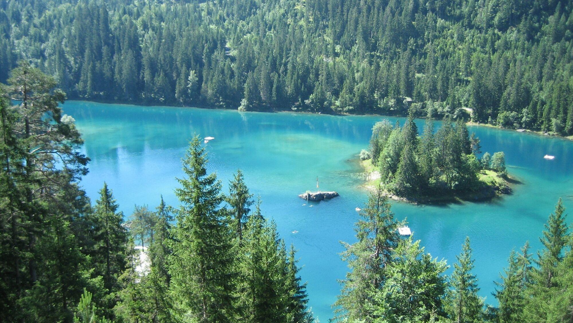 Von Wald umgeben: der türkisgrüne Caumasee