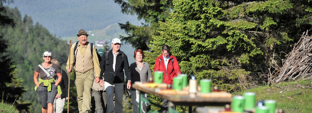Wanderer beim Leutascher Bergfrühling
