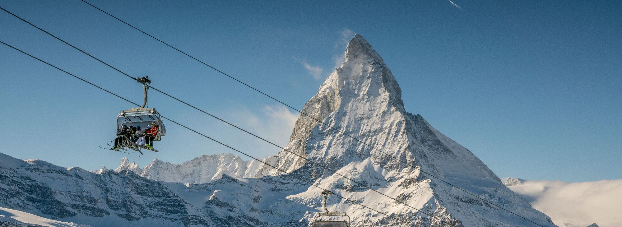Skifahren vor dem Matterhorn
