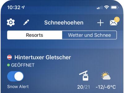 Screenshot von der Schneehoehen Ski APP IOS
