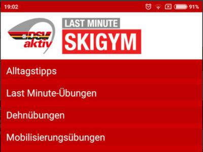 Screenshot von der Last Minute SkiGYM APP