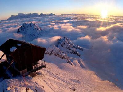 Blick über das Skigebiet Mont Fort