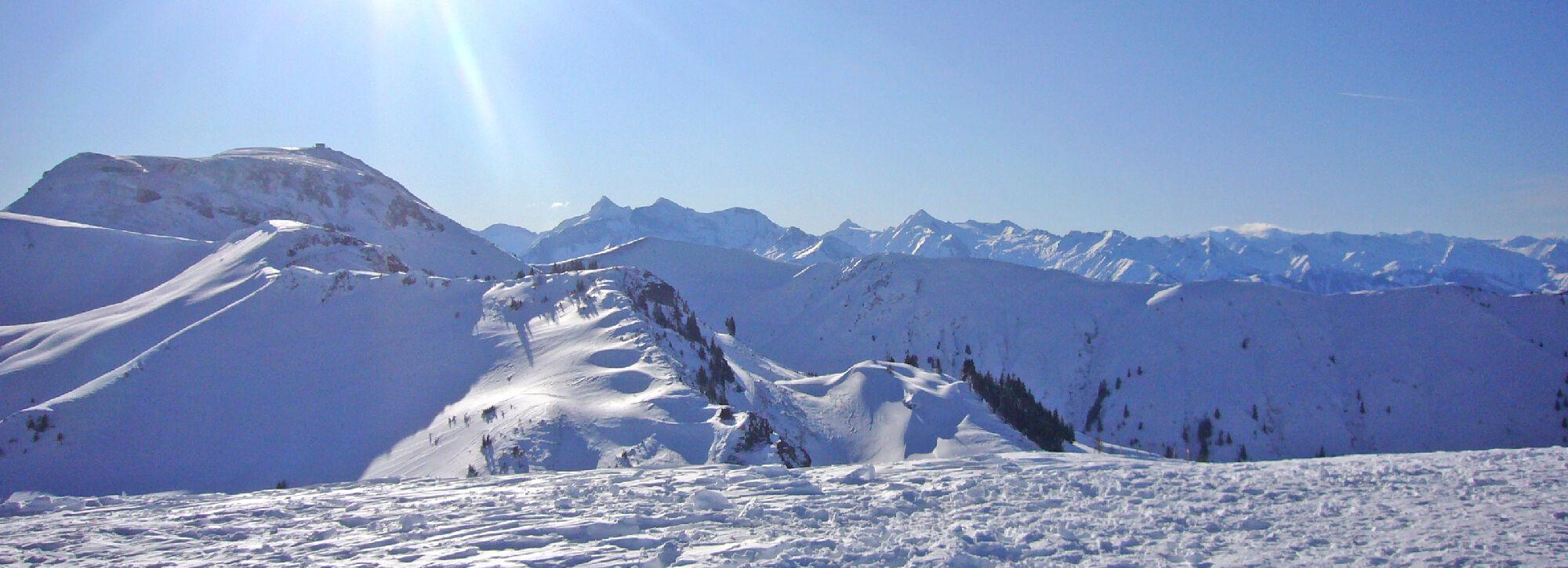 Blick auf das Skigebiet Hochkönig