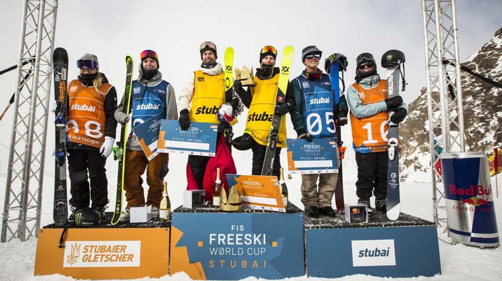 Siegerpodest beim Freestyle Worldcup Stubaier Gletscher 2017