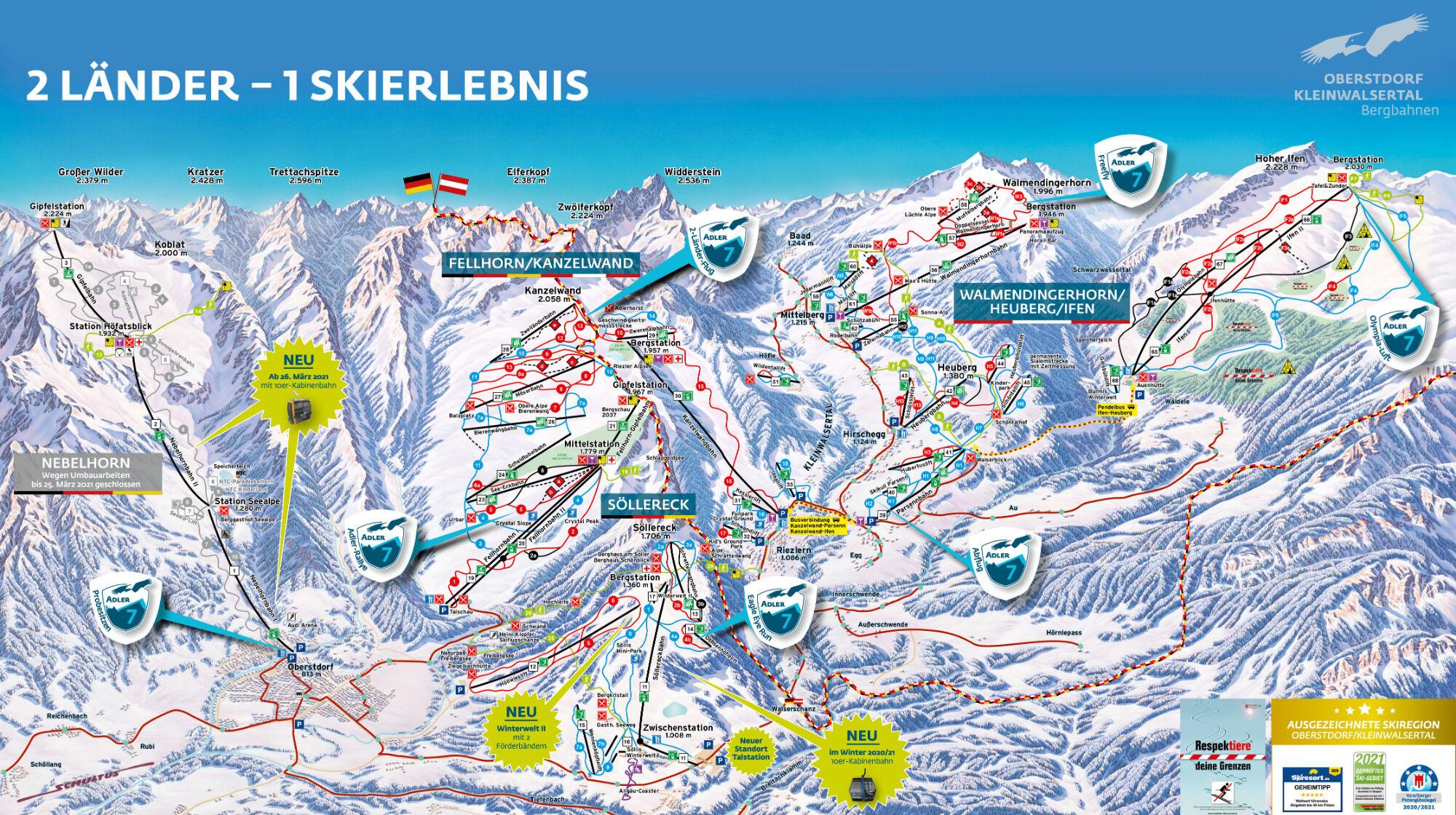 Panoramakarte Oberstdorf-Kleinwalsertal Bergbahnen