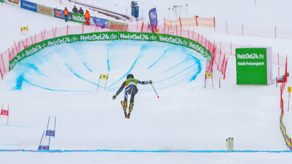 Kreisel beim Telemark Weltcup in Oberjoch
