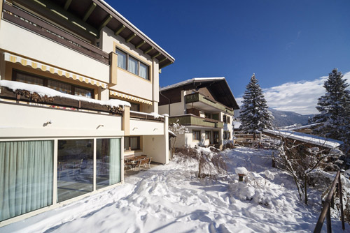 Blick auf die Residence Ulrike in Welschnofen im Winter