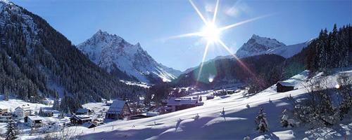Der Ort Gargellen im Winter