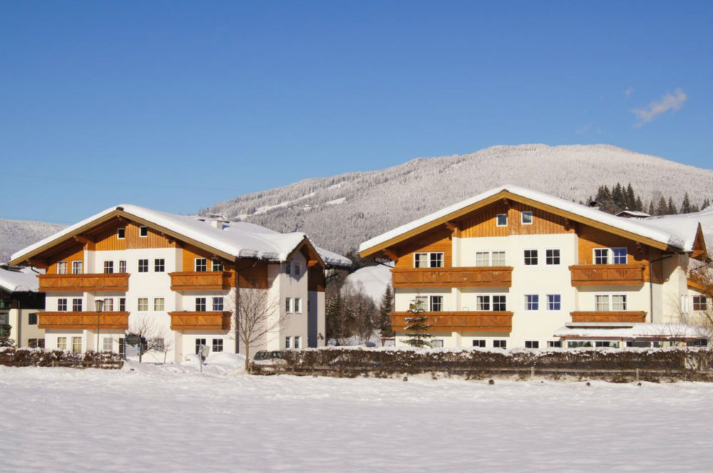 Außenansicht von den Sonnfeld Appartements in Flachau im Winter