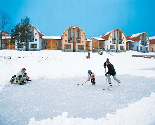 Der Winterspaß beginnt gleich vor der Haustüre im Landal Marina Lipno