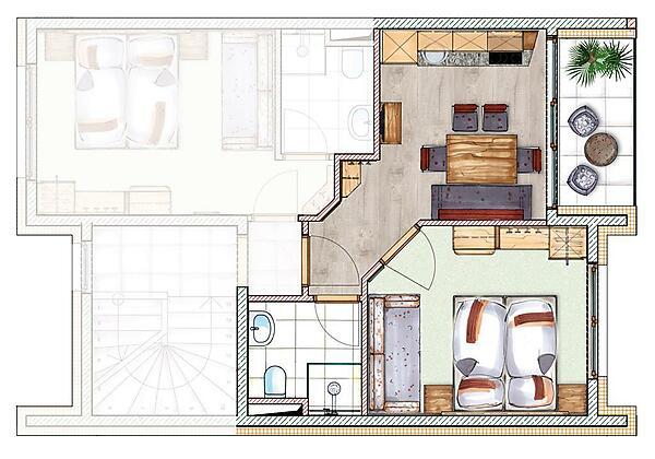 Grundriss Appartement 2-3 Personen