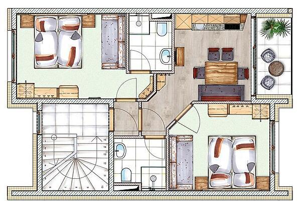 Grundriss Appartement für 4-7 Personen