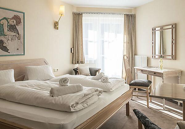 Das Schlafzimmer vom Appartement Smaragd im Crystls Aparthotel