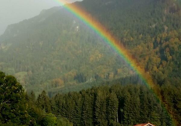 Regenbogen Blick aus FeWo Grünten