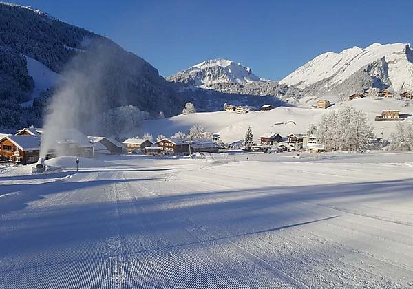 Blick auf den Schrannenhof in Schoppernau im Winter