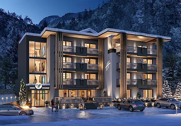 3617 Hotel Vier_Aussen Stp_01 Winter Abend_02